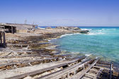 Es calo escalo Formentera north dock wooden rails — Stock Photo