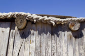 Detail of a wooden cabin roof — Stock Photo