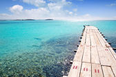 Formentera beach wood pier turquoise balearic sea — Stock Photo