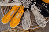 Ibiza mediterranean traditional handwoven shoes — Stock Photo