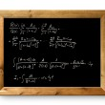 Board black blackboard difficult formula math — Stock Photo