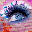 Blue eye macro closeup makeup sequins colorful - Stockfoto