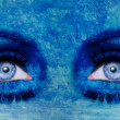 Stock Photo: abstract blue eyes makeup woman grunge texture