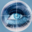 Blue eye makeup macro pupils recognition sensor - Stockfoto