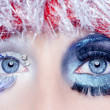 Christmas concept eye makeup winter red silver macro — Stock Photo #5808652