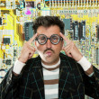 Genius nerd electronic engineer tech man thinking - Foto Stock