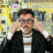 Genius nerd electronic engineer tech man thinking - Stock Photo