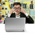 Genius nerd electronic engineer tech man thinking — Stock Photo