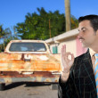 Car used salesperson selling old car as brand new — Stock Photo #5808734