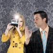 Geek mustache man reporter fashion girl photo shoot — Stock Photo