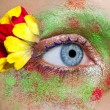 Blue woman eye makeup spring flowers metaphor — Foto Stock