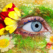 blue woman eye makeup spring flowers metaphor — Stock Photo
