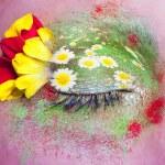 Blue woman eye makeup spring flowers metaphor — Stock Photo #5809122