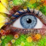 Blue woman eye makeup spring flowers metaphor — Stock Photo #5809220