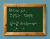 Board green blackboard difficult mathematical formula — Stock Photo