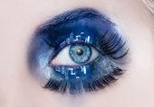 Blue eye makeup macro night city skyline eyelids — Stock Photo