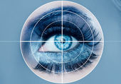 Blue eye makeup macro pupils recognition sensor — Stock Photo