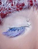 Christmas concept eye makeup winter red silver macro — Stock Photo