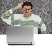 Nerd pensive man glasses silly expression laptop — Stock Photo