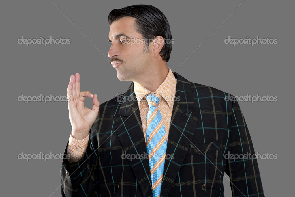 Salesman occupation tacky man ok gesture profile mustache businessman  Stock Photo #5808720