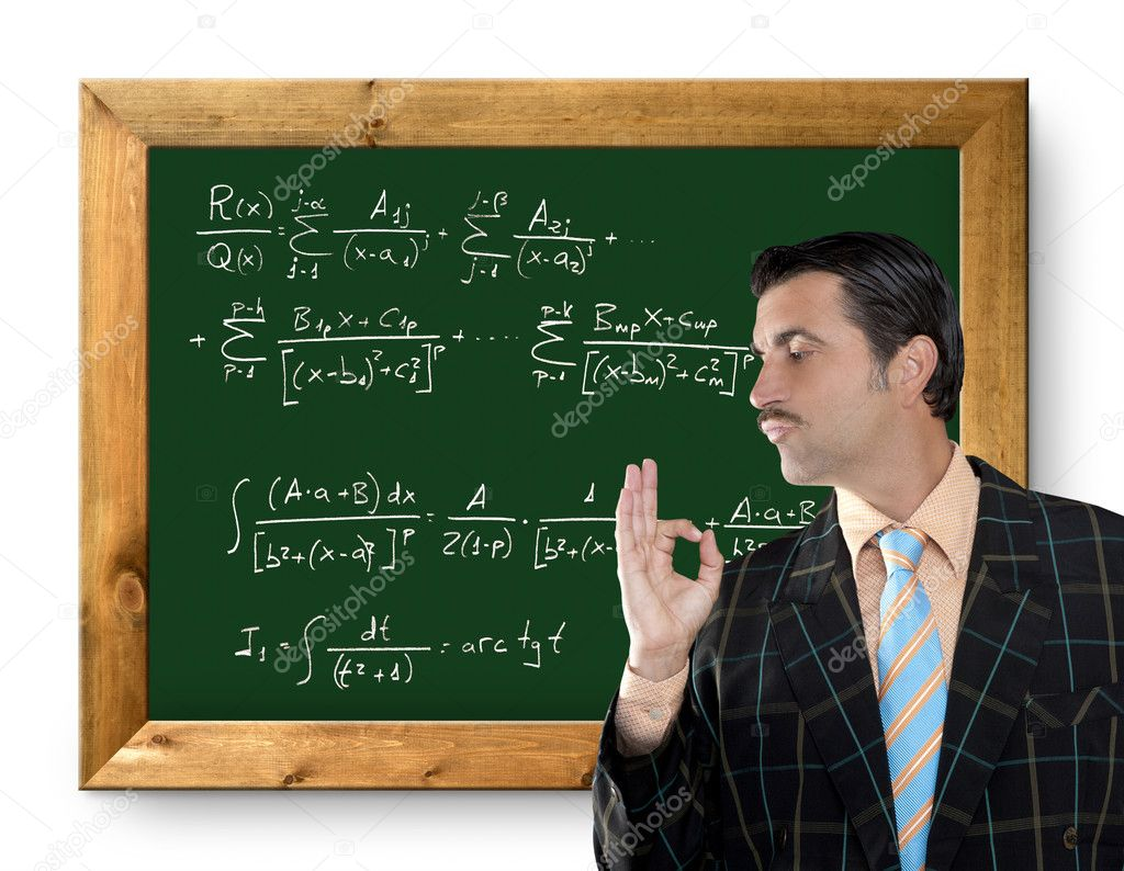 Mathematical formula genius tacky geek easy resolve positive gesture — Stock Photo #5808829