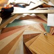 Architect interior designer workplace carpenter design — Stok fotoğraf