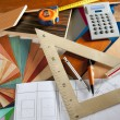 Architect interior designer workplace carpenter design - Stockfoto