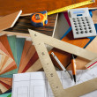 Architect interior designer workplace carpenter design — Stock Photo
