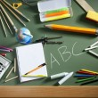 Stock Photo: ABC school blackboard green board back to school