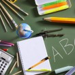 ABC school blackboard green board back to school - Stok fotoğraf