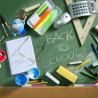 Back to school written blackboard green board — Stock Photo #5934935