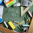 Back to school written blackboard green board — Stok fotoğraf