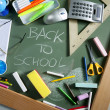 Back to school written blackboard green board — Stock fotografie