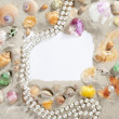 Border frame summer beach shell pearl necklace — Stock Photo