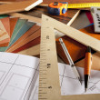 Architect interior designer workplace carpenter design - Stock Photo