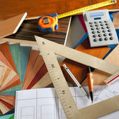 Architect interior designer workplace carpenter design — 图库照片