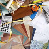 Architect desk interior designer workplace — Stock Photo
