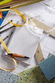 Architect desk designer workplace spiral notebook — Stock Photo