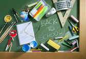 Back to school written blackboard green board — Stock Photo