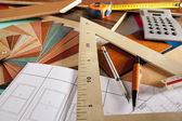 Architect interior designer workplace carpenter design — Foto de Stock