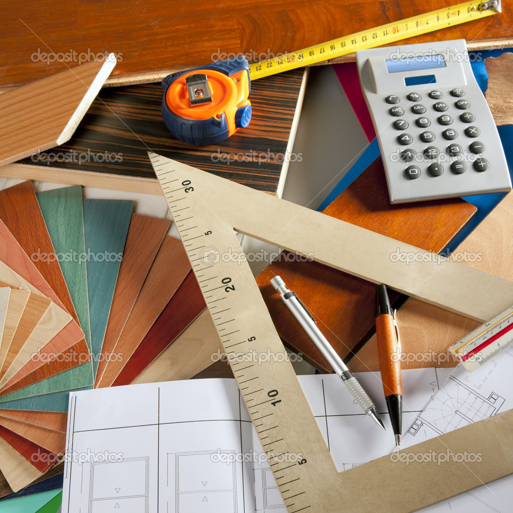 Architect Interior Designer Workplace Carpenter Design Stock