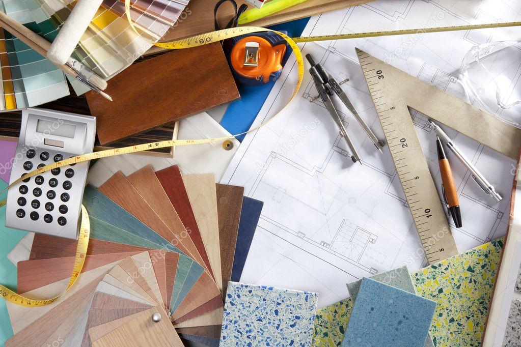 Architect desk interior designer workplace stock photo for Architecte desl definition