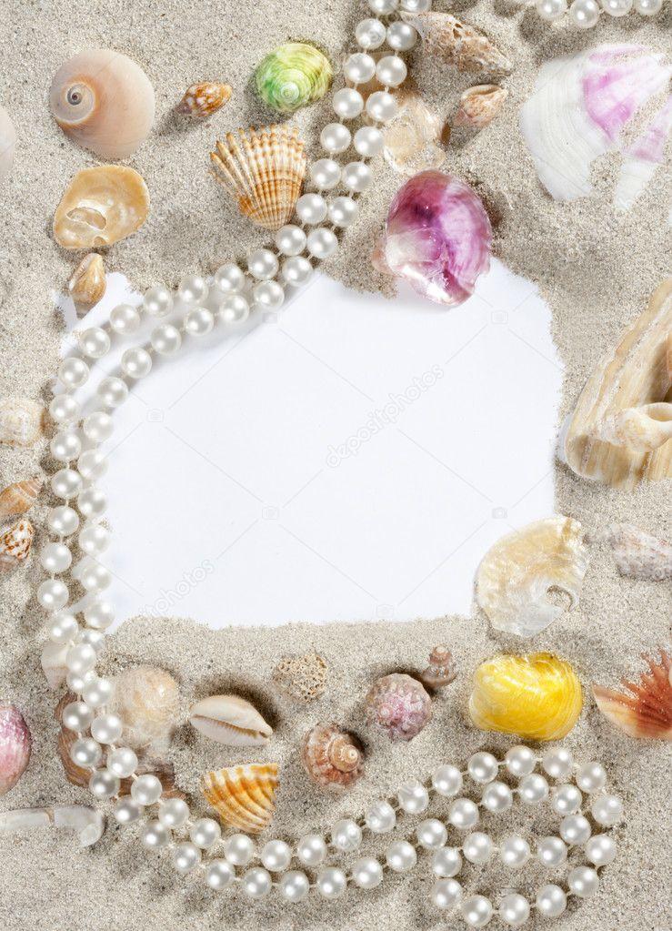 border frame summer beach shell pearl necklace stock. Black Bedroom Furniture Sets. Home Design Ideas