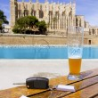 Car rental keys on the table with city tourist map in Palma — Stock Photo