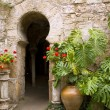 Arab baths in Majorca old city of Barrio Calatrava Los Patios - 图库照片