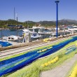 Fishing nets and tackle in Andratx port from mallorca - Foto Stock