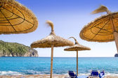 Andratx Port de Mar beach with sunroof umbrellas — Stock Photo