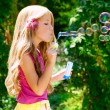 Children blowing soap bubbles in outdoor forest — Stock Photo #6214198