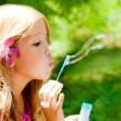Children blowing soap bubbles in outdoor forest — Stock Photo
