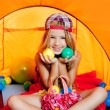 Children girl playing with balls inside camping tent — Stock Photo #6214481